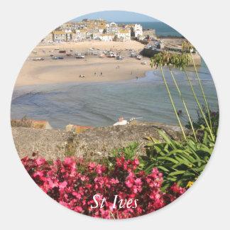 St Ives港のピンクの花 ラウンドシール