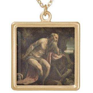 St Jeromeの早い1560年代(キャンバスの油) ゴールドプレートネックレス