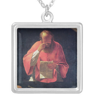St Jeromeの読書 シルバープレートネックレス