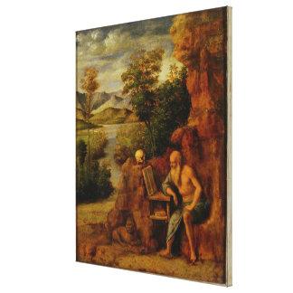 St Jerome、c.1500 (パネルの油) キャンバスプリント