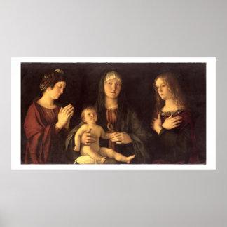 St Mary MagdaleneおよびSt.を持つマドンナそして子供 ポスター
