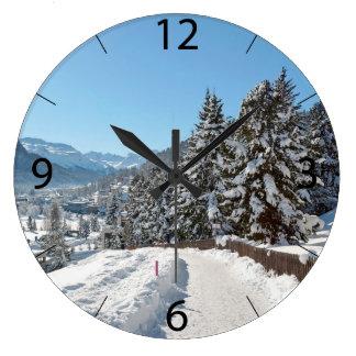 St Moritzの冬 ラージ壁時計
