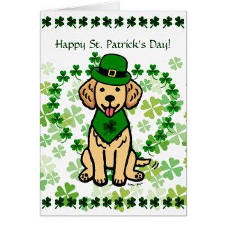 St. Patrick Day Golden Retriever Cartoon カード