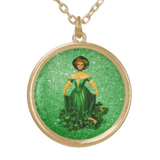 St patricks dayの女性Green Gown Faux Glitter ゴールドプレートネックレス