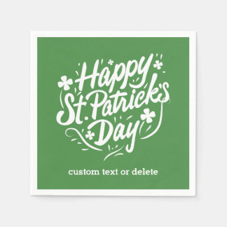 St patricks dayの幸せなパーティーのカスタムなアイルランドのシャムロック スタンダードカクテルナプキン