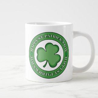 St patricks dayの幸せな盾 ジャンボコーヒーマグカップ