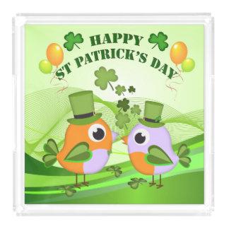 St patricks dayの幸せな鳥 アクリルトレー