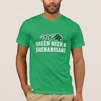 St patricks dayのTシャツ の緑ビール及び偽り Tシャツ