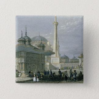 St. Sophia、イスタンブールのengraの噴水そして正方形 5.1cm 正方形バッジ