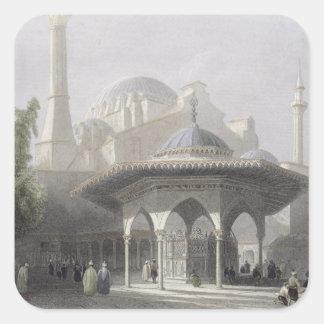 St. Sophia、イスタンブールのengravの裁判所そして噴水 スクエアシール