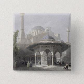 St. Sophia、イスタンブールのengravの裁判所そして噴水 5.1cm 正方形バッジ