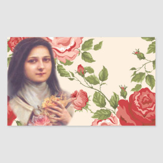 St. Therese the Little Flower RedRoses 長方形シール