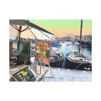 St Tropezの多彩なアートワークの水辺地帯のマリーナ キャンバスプリント