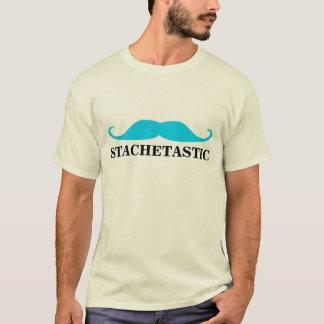 Stachetastic青いStacheのハンドルバーの髭 Tシャツ