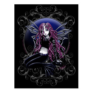 Stacyの魔法の鏡のピンクの妖精のファンタジー ポストカード