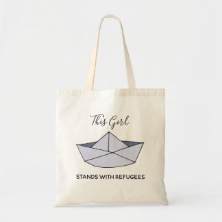 Stand With Refugees Doodle Paper Boat with Name トートバッグ