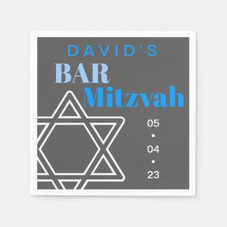 Star of David Bar Mitzvah Custom Paper Napkin スタンダードカクテルナプキン