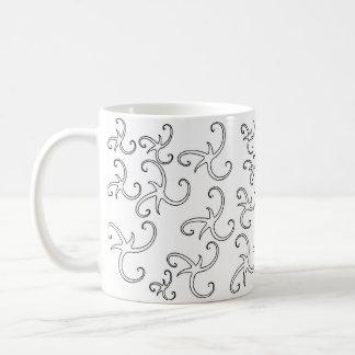 Star Ribbon Outlines コーヒーマグカップ