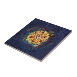 Star Shine Gold and Blue Ceramic Art Tile タイル