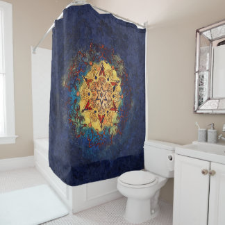 Star Shine Gold and Blue Shower Curtain シャワーカーテン