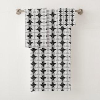 Starbustおよびひし形黒いおよび灰色のパターン バスタオルセット