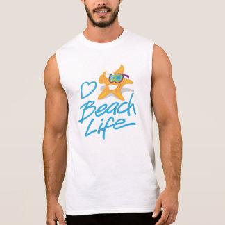 StarDudeのハートのビーチの生命袖なしのTシャツ 袖なしシャツ