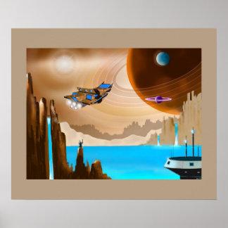 Starshipおよびサイエンスフィクションの景色の芸術ポスター ポスター