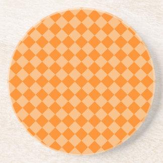 STaylor著オレンジ組合せのダイヤモンドパターン コースター