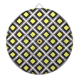 STaylor著ダークグレー、黒く、黄色のイカットのダイヤモンド ダーツボード
