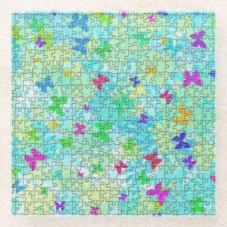 STaylor著パズルの蝶そしてデイジーカラフル ガラスコースター
