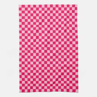 STaylor著ピンクの組合せのクラシックなチェッカーボード キッチンタオル