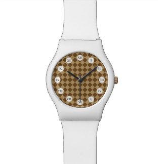 STaylor著ブラウンの組合せのダイヤモンドパターン 腕時計