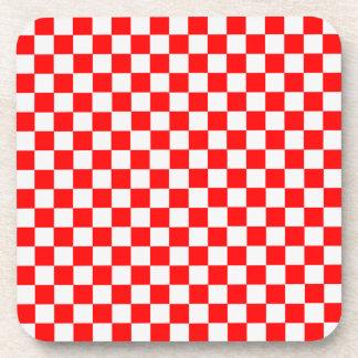 STaylor著赤と白のクラシックなチェッカーボード コースター