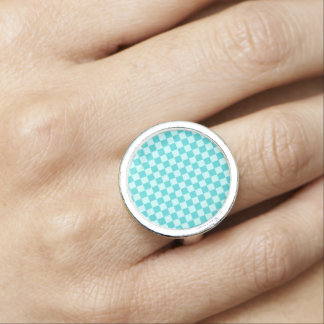 STaylor著青い組合せのクラシックなチェッカーボード 指輪