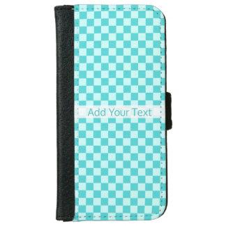 STaylor著青い組合せのクラシックなチェッカーボード iPhone 6/6s ウォレットケース