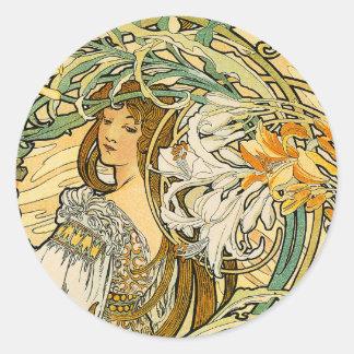 Stcker:  ミュシャ-花の言語 ラウンドシール