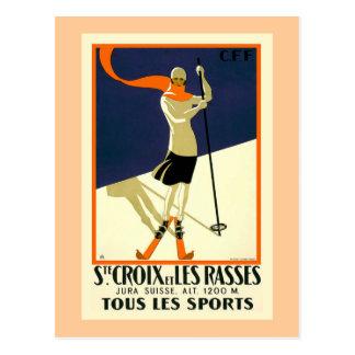 """""""Ste CroixとLes Rasses""""のスイスのヴィンテージ旅行 ポストカード"""