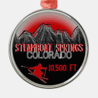 Steamboat Springsコロラド州のスキー赤いオーナメント メタルオーナメント