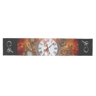 Steampunkのかわいいキリンが付いている時計、 ミディアムテーブルランナー