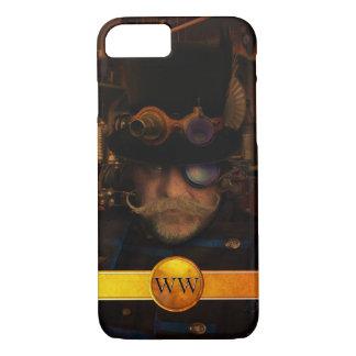 Steampunkのカスタムな金ゴールドのモノグラムの口ひげの大尉 iPhone 8/7ケース