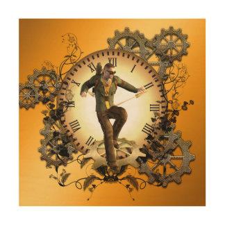 Steampunkのギアが付いている時計の人 ウッドウォールアート