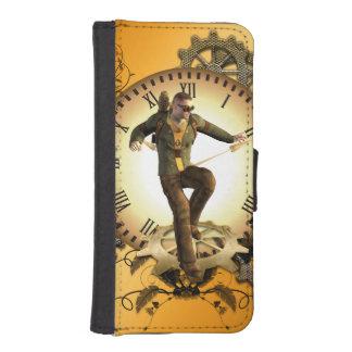 Steampunkのギアが付いている時計の人 iPhoneSE/5/5sウォレットケース