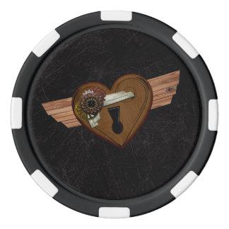 Steampunkのグランジなハート ポーカーチップ
