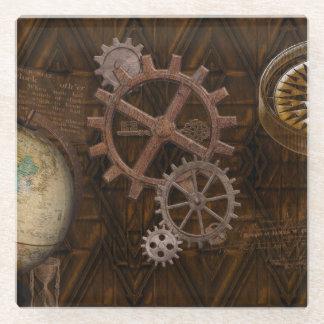 Steampunkのコグ、ギア及び世界の地球 ガラスコースター