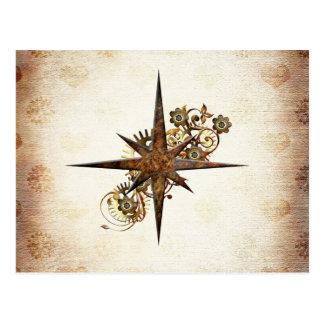 Steampunkのコンパスの星の郵便はがき ポストカード