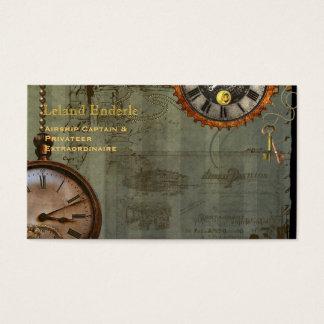Steampunkのタイムマシンビジネスプロフィールカード 名刺