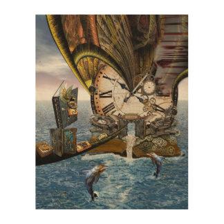 Steampunkのドラゴンの物語の本 ウッドウォールアート