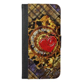 Steampunkのバレンタインデー1Bの財布の電話箱 iPhone 6/6s Plus ウォレットケース