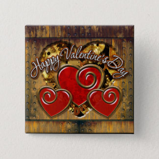 Steampunkのバレンタインデー3 5.1cm 正方形バッジ