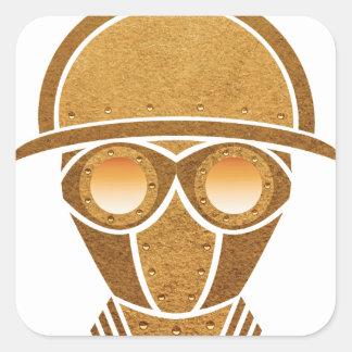 Steampunkのヘルメット及びマスク 正方形シール